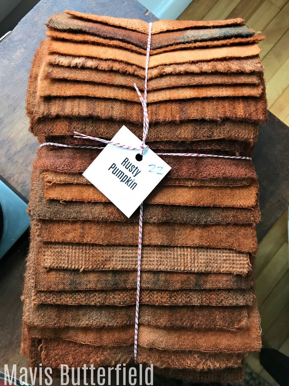 Hand Dyed Wool Fabric, 22 Rusty Pumpkin Fat 1/16 Sixteenth for Primitive Rug Hooking