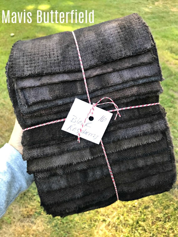 Hand Dyed Wool Fabric, 16 Black Raspberry Fat 1/16 Sixteenth for Primitive Rug Hooking