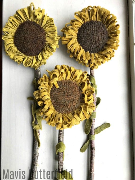 Set of 3 GIANT Primitive Folk Art Wool Hooked Rug Sunflowers