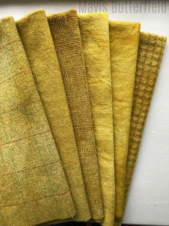 Hand Dyed Wool Fabric, 6 Mustard Fat Quarters {1/4 yd} for Primitive Rug Hooking