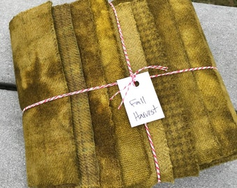 Hand Dyed Wool Fabric, 8 Fall Harvest Fat 1/16 Sixteenth Bundle for Primitive Rug Hooking