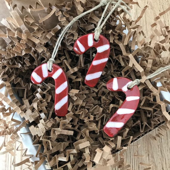 Set of 3 Mini Redware Candy Cane Pottery Ornaments ~ Primitive Folk Art