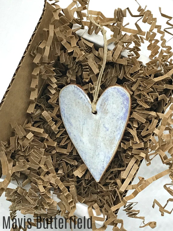 Rustic Simple Blue Heart Redware Pottery Ornament