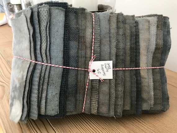 Hand Dyed Wool Fabric, 23 Smokey Grey Blue Fat 1/16 Sixteenth for Primitive Rug Hooking