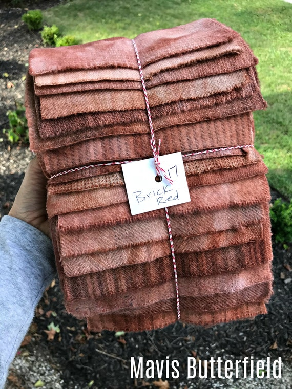 Hand Dyed Wool Fabric, 17 Brick Red Fat 1/16 Sixteenth for Primitive Rug Hooking