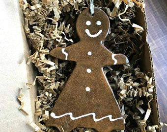 Rustic Gingerbread Girl Redware Pottery Ornament