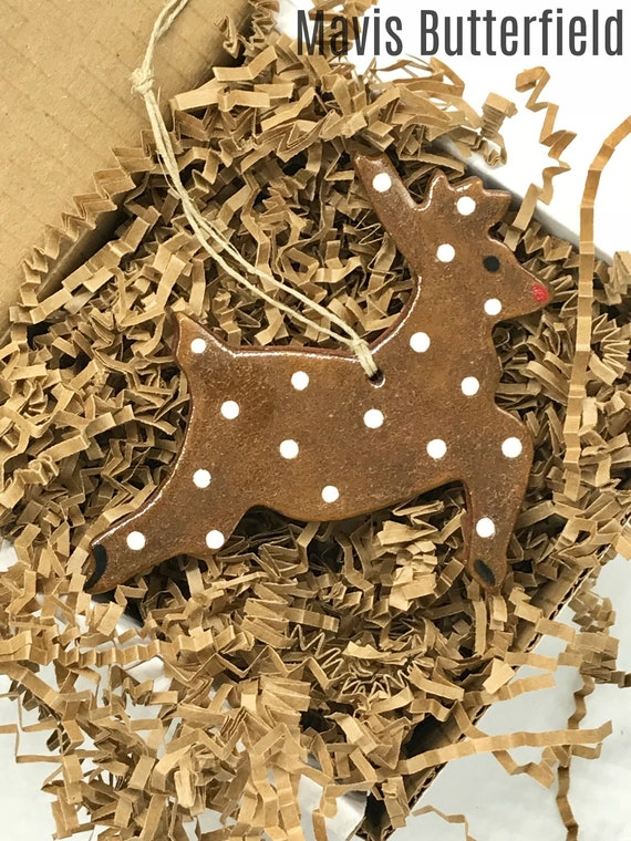 Rustic Polka Dot Reindeer Redware Pottery Ornament
