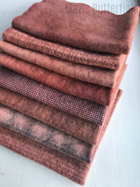 Hand Dyed Wool Fabric, 8 Primitive Deep Pink Fat Eighths for Primitive Rug Hooking