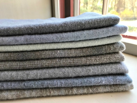 Hand Dyed Wool Fabric, 8 Worn Lilac Fat 1/4 Yard Fat Quarters {2 Yards Total} for Primitive Rug Hooking