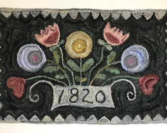 Primitive Folk Art Wool Hooked Rug Flowers for Lucy ~ Early Style