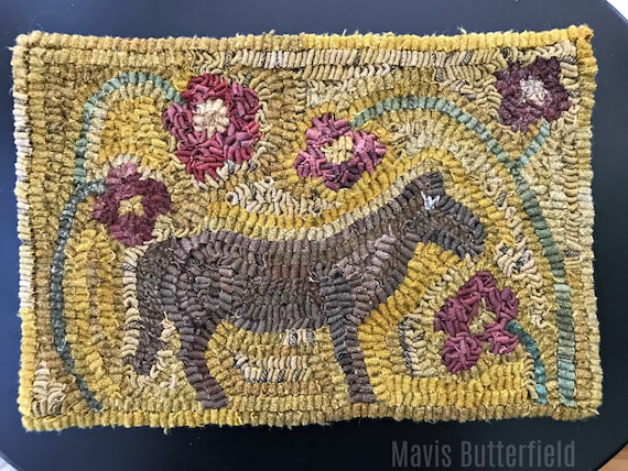 Old Mare Primitive Folk Art Hooked Horse and Flower Rug {{Mustard}}