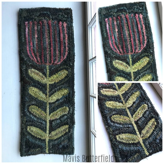 Rug Hooking Pattern Old Fashioned Tall Tulip On Linen