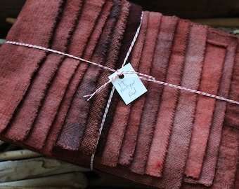 Hand Dyed Wool Fabric, 17 Antique Red Fat Sixteenths {1/16} for Primitive Rug Hooking