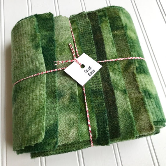 Hand Dyed Wool Fabric, 8 Green Grass Fat 1/16 Sixteenth for Primitive Rug Hooking