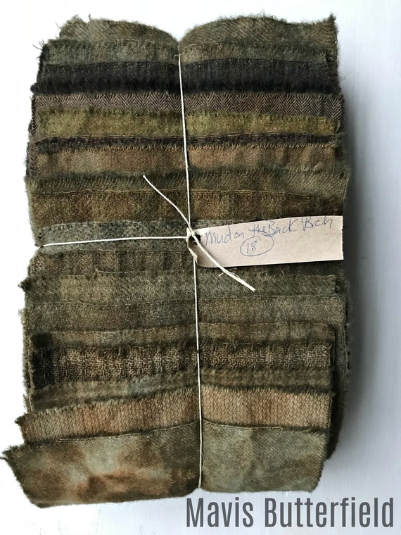 Hand Dyed Wool Fabric, 18 Mud on the Back Porch 1/16ths Fat Sixteenths for Primitive Rug Hooking