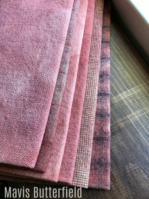 Hand Dyed Wool Fabric, 5 Old Bricks Fat 1/4 yard cuts {1 1/4 yards total} for Primitive Rug Hooking