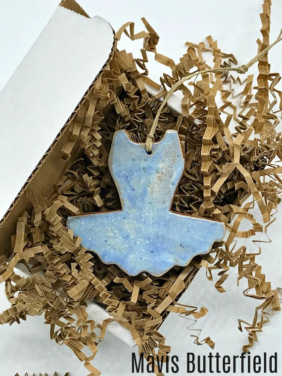 Rustic Blue Tutu Redware Pottery Ornament