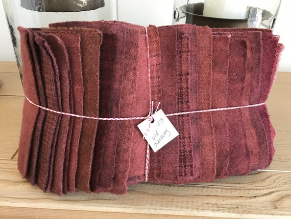 Hand Dyed Wool Fabric, 23 Cranberry Red Fat Sixteenths {1/16} for Primitive Rug Hooking
