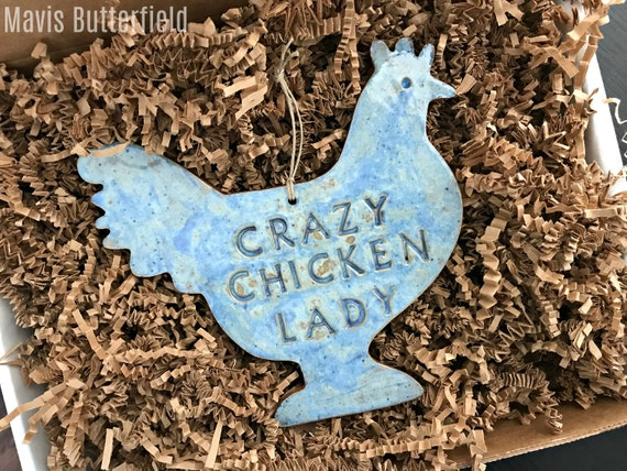 LARGE Crazy Chicken Lady Redware Pottery Ornament ~  Blue and White Speckled ~