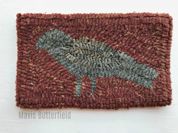 Primitive Folk Art Hooked Rug Old Crow Early Style Deep Barn Red