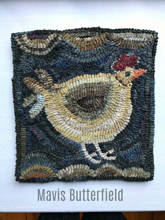 Primitive Folkart Hooked Wool Rug - Betty's Big Chicken