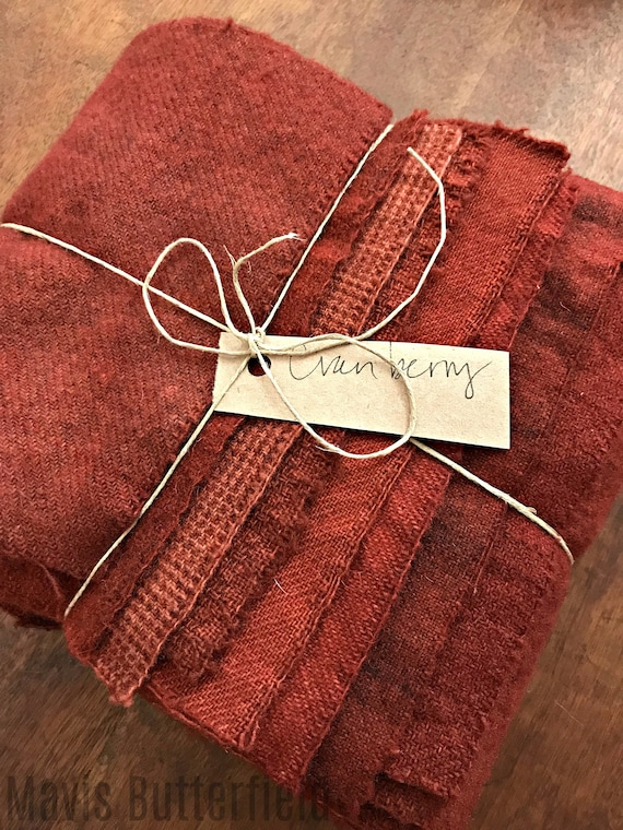 Hand Dyed Wool Fabric, 8 Old Cranberry Fat 1/16 Sixteenth for Primitive Rug Hooking