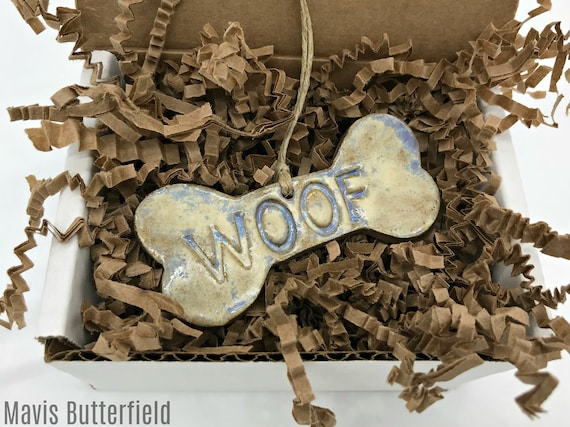 WOOF Dog Bone Ornament Redware Pottery