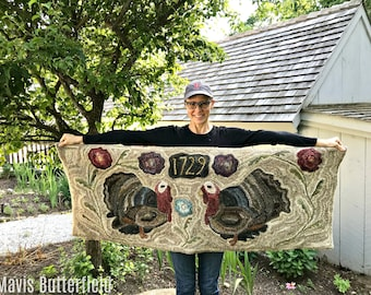 Rug Hooking KIT -  Tullia and Thomas Turkey ~ on Linen with Hand Dyed Wool