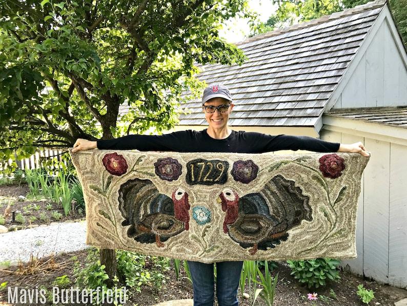 Rug Hooking PATTERN  Folk Art Primitive Wool Hooked Rug  image 0