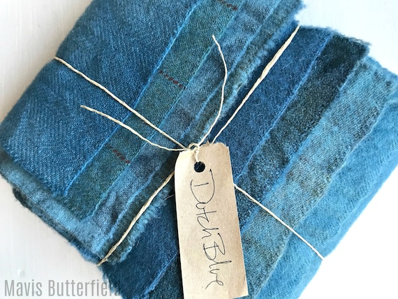 Hand Dyed Wool Fabric, 8 Dutch Blue Fat 1/16 Sixteenth for Primitive Rug Hooking