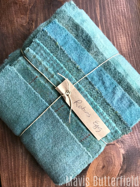 Hand Dyed Wool Fabric, 8 Robin's Egg Blue Fat 1/16 Sixteenth for Primitive Rug Hooking