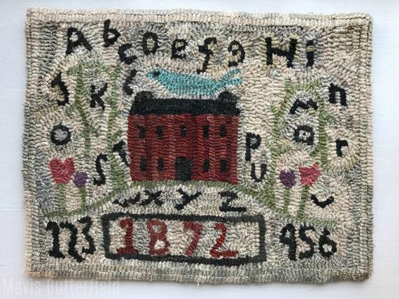 Primitive Folk Art Hooked Rug Sampler with Red Farmhouse