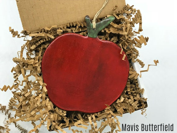 Rustic Red Apple Redware Pottery Ornament {{LARGE}}