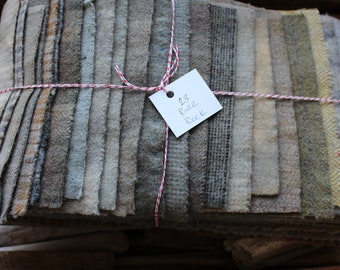 Hand Dyed Wool Fabric, 23 River Rock Fat 1/16 Sixteenths for Primitive Rug Hooking