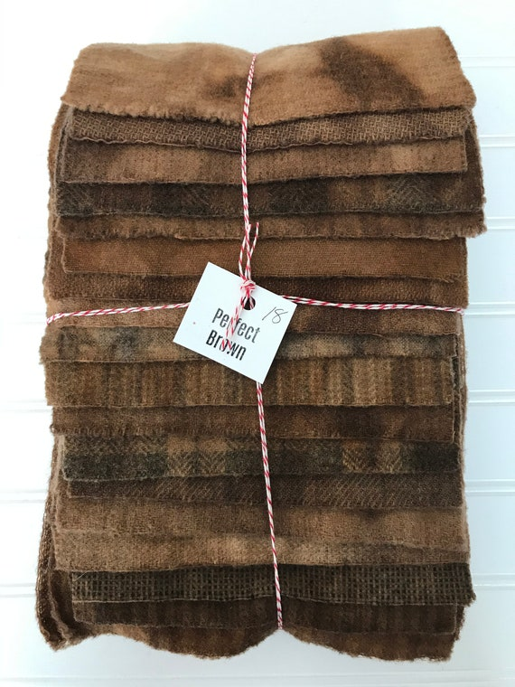 Hand Dyed Wool Fabric, 18 Perfect Brown 1/16ths Fat Sixteenths for Primitive Rug Hooking