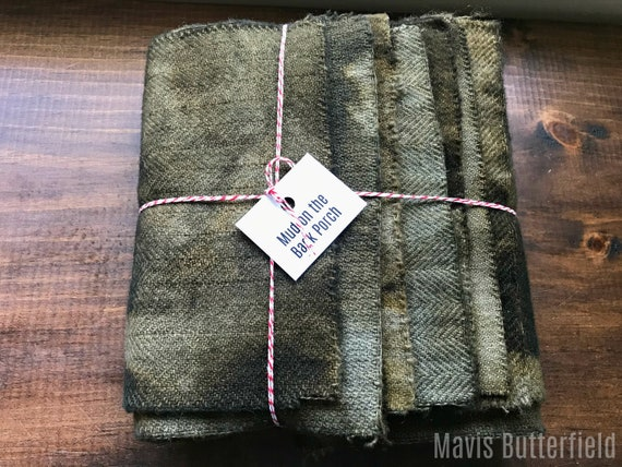 Hand Dyed Wool Fabric, 8 Mud on the Back Porch 1/16ths Fat Sixteenths for Primitive Rug Hooking