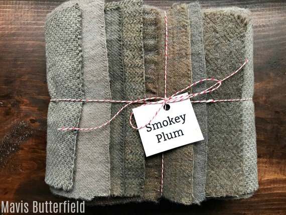 Hand Dyed Wool Fabric, 8 Smokey Plum Fat 1/16 Sixteenth Bundle for Primitive Rug Hooking