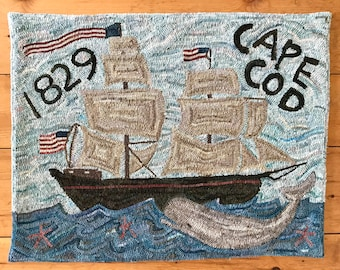 Rug Hooking Pattern on Linen - Cape Cod 1829 New England Whale and Sailboat