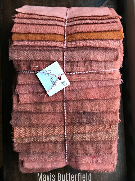 Hand Dyed Wool Fabric, 20 Salmon Fat 1/16 Sixteenth for Primitive Rug Hooking