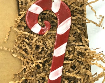 Rustic Candy Cane Redware Pottery Ornament