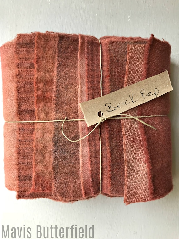 Hand Dyed Wool Fabric, 8 Old Bricks Fat 1/16 Sixteenth for Primitive Rug Hooking