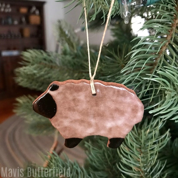Rustic Lamb Sheep Redware Pottery Ornament - Dirty Wool