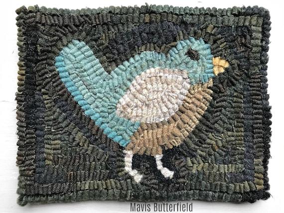 Primitive Wool Folk Art Hooked Rug Miss Robin ~ Blue