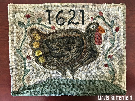 American Folk Art Wool Hooked Rug - 1621 Gobbler ~ A Thanksgiving Turkey