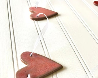 Rustic Redware Pottery ~ PINK Hearts Banner ~ Garland ~ Perfect for Valentine's Day or a Birthday