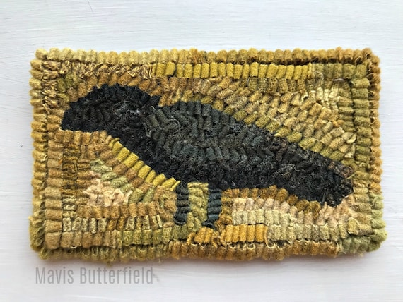 Primitive Folk Art Wool Hooked Rug Old Crow Early Style
