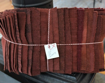 Hand Dyed Wool Fabric, 24 Old Cranberry Red Fat Sixteenths {1/16} for Primitive Rug Hooking