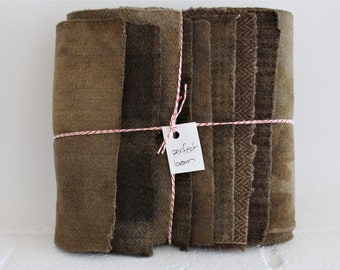 Hand Dyed Wool Fabric, 8 Perfect Brown Fat 1/16 Sixteenth for Primitive Rug Hooking