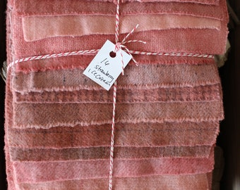 Hand Dyed Wool Fabric, 16 Strawberry Ice Cream Pink Fat 1/16 Sixteenth for Primitive Rug Hooking