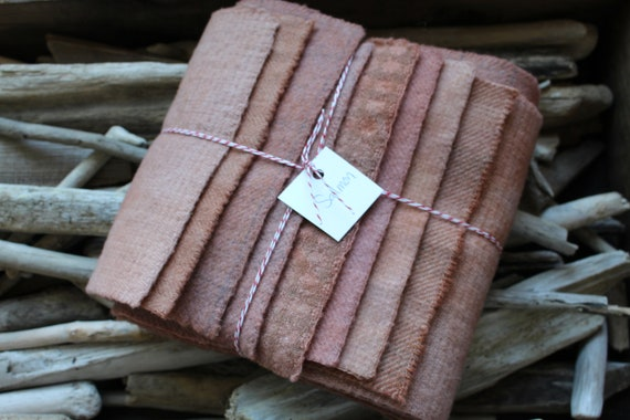 Hand Dyed Wool Fabric, 8 Primitive Salmon Fat 1/16 Sixteenth for Primitive Rug Hooking